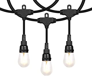 Honeywell 48 FT Outdoor String Lights, Commercial Grade Waterproof LED Patio Lights, 15 Plastic Bulbs, Create Cafe Lighting Ambience in Your Backyard