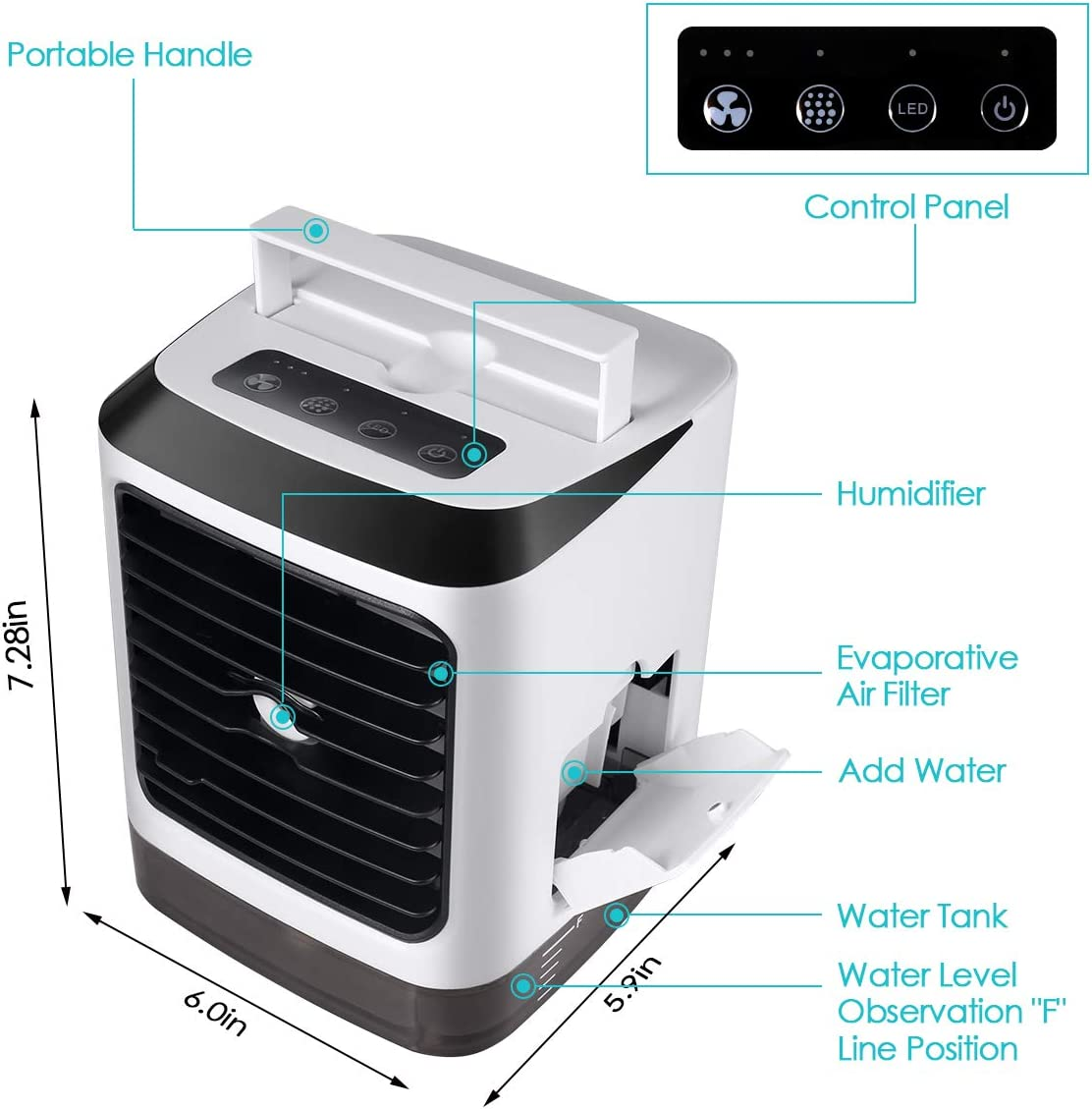 Office 3 in 1 Portable Mini Evaporative Conditioner with 7 LED Light//Humidifier//Purifier//3 Speeds Desktop Fan Small Desk Fan Portable Mini USB Air Cooler Personal Air Conditioner Room for Home
