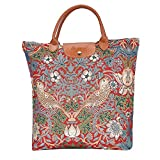 Signare tapiz bolsas reutilizables tote bag bolsa compra para mujeres con diseños de William Morris (Strawberry Thief Red)