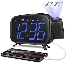 ELEHOT Sveglia Digitale da Comodino Radiosveglia con Proiettore Scrivania Scaffale 3 Livelli Luminosità Proiezione Regolabile 180° 7 Allarmi Snooze Radio FM USB