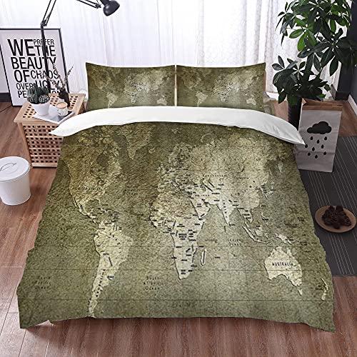 Qinniii Bedsure Funda Nórdica,Mapa Antiguo del Viejo Mundo con Textura nostálgico Plan Atlas Rastro de Vida Mundo,Fundas Edredón 200 x 200 cmcon 1 Funda de Almohada 40x75cm