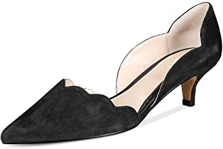 Women Classic Pointy Toe Kitten Pumps Slip-on Suede Low Heel D'Orsay Shoes Formal