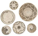 Wall basket décor large boho wall décor hanging wall baskets 19' to 10' room décor round wicker baskets handmade seagrass set baskets flat natural Decorative wall art home décor set of 6