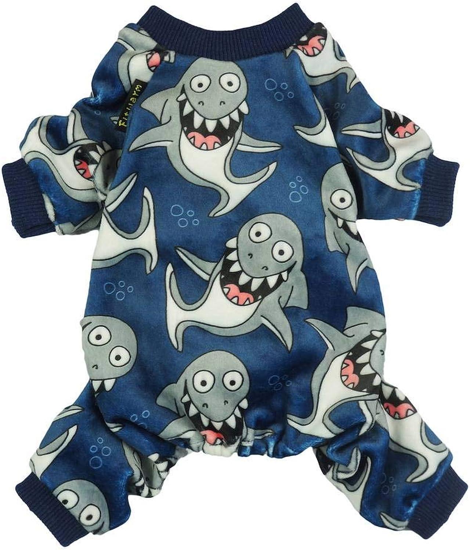 Fitwarm Shark Pet Clothes for Dog Pajamas Cat Jumpsuit PJS Apparel Lightweight Velvet bluee XS