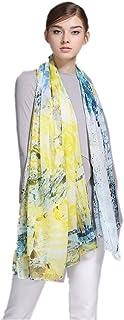 prettystern - XXL 180/110 cm de la bufanda de la luz del verano 100% seda - un pintoresco jardín de verano