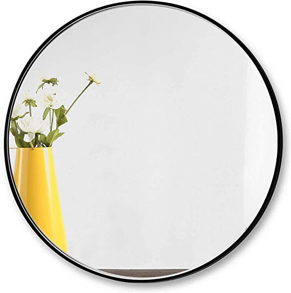 31 5 Large Round Wall Mirror Black Frame Modern Matte Black Circle Mirror For Bathroom Washroom Bedroom Hallway Entry Living Room