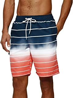 Arcweg Mens Swimming Shorts Knee Length with Pockets Swimming Trunks Mens Long Adjustable Drawstring Elastic Waist Board S...