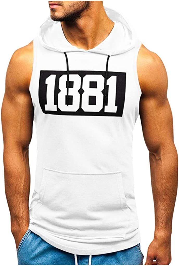VEKDONE Men's Casual Fitness Max 54% OFF Gym Finally resale start Hooded Hoodi Workout Sleeveless