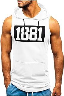Amober Shirt for Men Slim Fit Sleeveless Independence Day Printing Mesh Breathable Bodybuilding Sport Vest