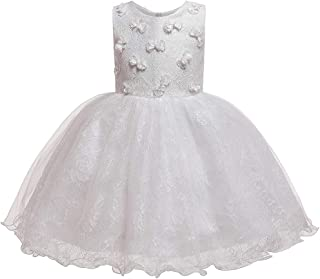 HUAANIUE Girls Pageant Wedding Birthday Party Dresses for Toddler and Baby Girl - White - 3T / 4T