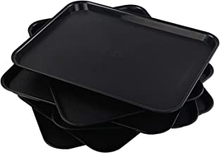 Qqbine Extra Large Plastic Serving Platters Rectangle Fast Food Trays, Black, 6 Packs