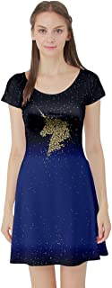 Womens Unicorns Rainbow Mermaid Space Short Sleeve Skater Dress, XS-5XL