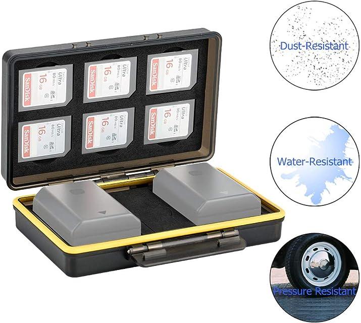 JJC Estuche Tarjeta SD para 6 tarjetas SD con 2 ranuras para baterías Canon LP-E6 LP-E8 LP-E12 LP-E17 NB-13L Sony NP-FZ100 NP-FW50 NP-BX1 Fujifilm NP-W126 NP-W126S NP-95 Nikon EN-EL15 EN-EL14