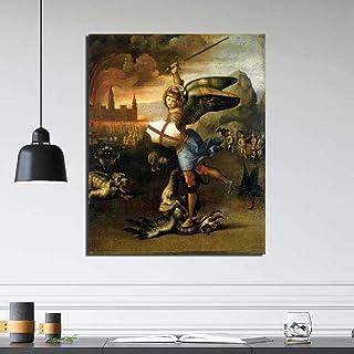 VCFHU Rafael ArcáNgel Miguel Y El DragóN Pintura En Lienzo Poster Famosos Impresiones Arte De Pared Abstracto Cuadros De D...