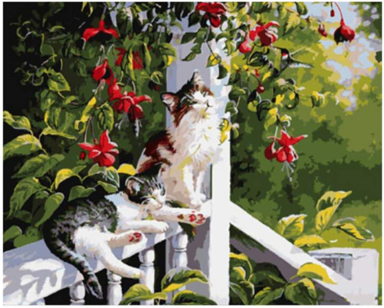 WYTTT Nette Nette Nette Katze DIY Malen Nach Zahlen Tierölgemälde Auf Leinwand Garten Geländer Blaume Acryl Wandkunst 16X20 Zoll Kein Rahmen B07NPY94SD   Leicht zu reinigende Oberfläche  318722