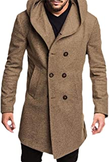 Men's Wool Coats Long Sleeve Double-Breasted Trench Coat Hoodies Jackets