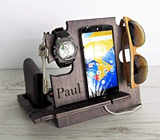 Gift for Him, Personalized Gift, Charging Station, Cell Phone Stand, Desk Organizer, Docking Station, Christmas Gift