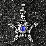 Black Rock Shooter Necklace Pentacle Pentagram Star Amulet Antique Silver Color Pendant Crystal Vintage Anime Jewelry Wholesale