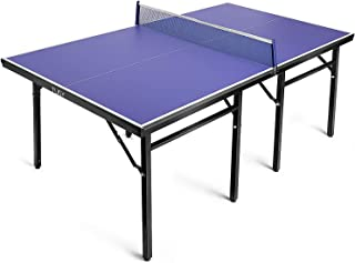 TUSY- Ping Pong Table Indoor and Outdoor 98% Preassembled Midsize Easy Storage Table Tennis Table with Net 15mm