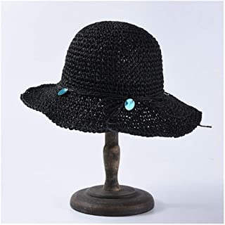 SHENTIANWEI Straw hat Ladies Hand Hook Visor Foldable Sunscreen Fisherman hat Seaside Beach hat (Color : Black)
