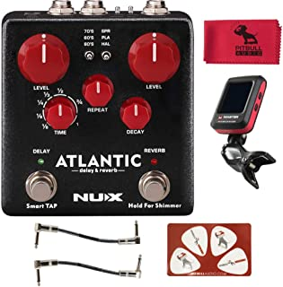 Nux Atlantic Verdugo Series Delay/Reverb Guitar Effects Pedal w/Master Clip-on Tuner, Patch cables, PitbullAudio MicrofIber, and Pikcard