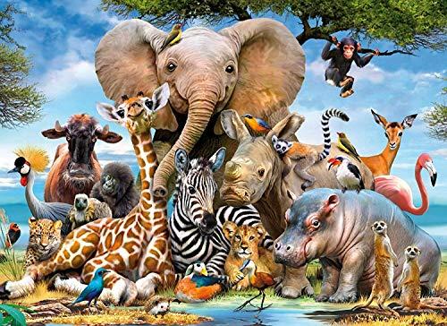 Binen 1000 Pezzi Animal World Puzzle per Bambini Adulte - 70CM x 50CM, Giochi Puzzle educativi Puzzle Giocattoli Puzzle di Legno Decorazione Domestica Moderna Decorazione della Parete di casa Pittura