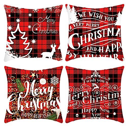 DCYGFS Cubiertas de Cojines de Navidad Conjunto de 4 Cubiertas de cojín de Navidad Rojo Cubiertas de Cojines Cojines de Almohada de Navidad Sofá de Navidad Decoración 18 x 18