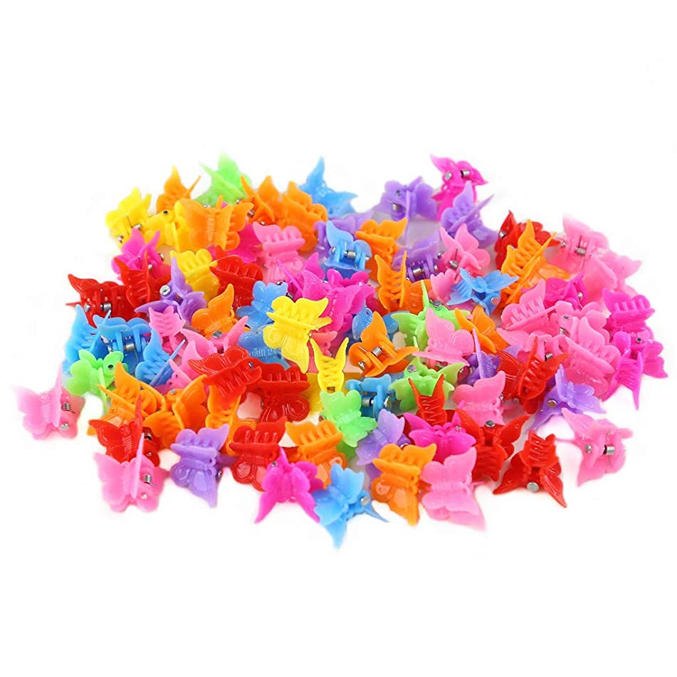 Butterfly Hair Clips for Girls and Women,LYDZTION 100 Packs Assorted Color Hair Clips Beautiful Mini Butterfly Hair Clips Hair Accessories