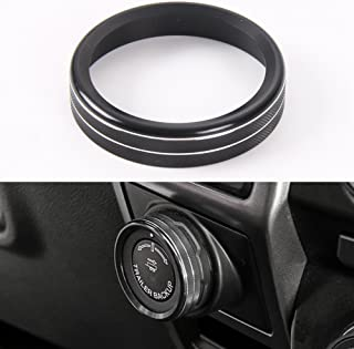 Aluminum Alloy Car Inner Trailer Switch Knob Ring Cover Trim For Ford F150 XLT 2016 2017 (Black Trailer Knob Cover)