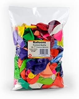 """Hygloss 60724 Birthday Party Latex Balloons Decorations, 7"""", Assorted (Pack of 144)"""