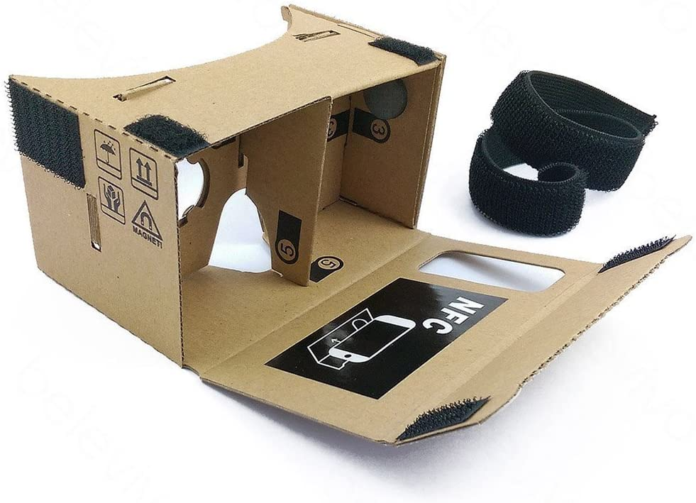 Google Cardboard @ 45mm Focal Length Virtual Reality Google Cardboard with Printed Instructions and Easy to Follow Numbered Tabs (WITH NFC and FREE HEAD-STRAP)(Box Color)