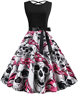 Doric Halloween Womens Vintage 1950s Sleeveless O-Neck Pumpkin Print Party Prom Cocktail Swing Dress