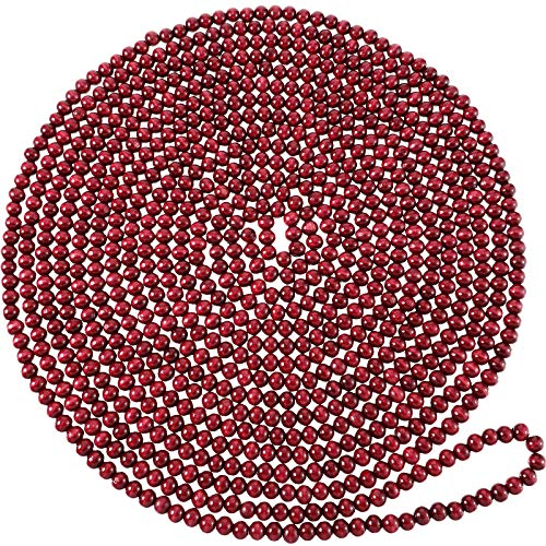 Wooden Bead Garland Red Round Bead Wreath Christmas Party Holiday Decorations (Wine Red, 2)