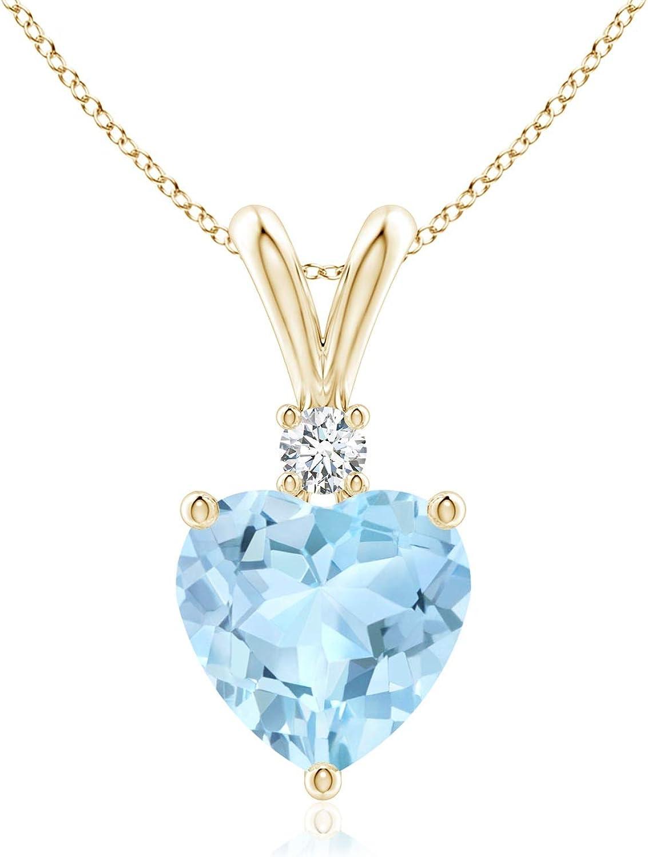 Heart-Shaped Aquamarine V-Bale Pendant Aquamar with Diamond At the price of surprise Popular standard 7mm