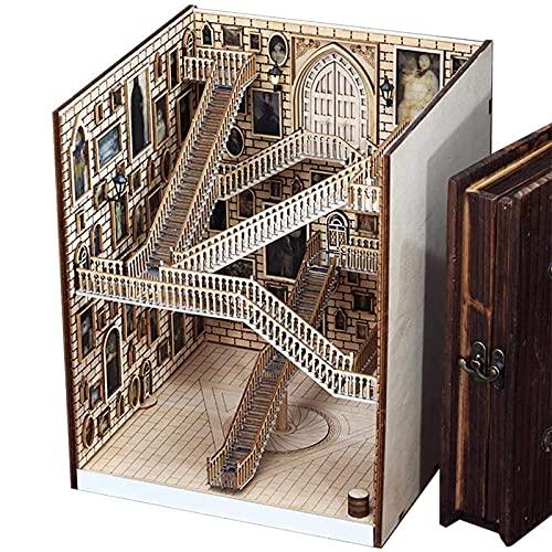 Sujetalibros de madera Escaleras móviles Libro para trabajos pesados Extremos de libros Estantería Escritorio Organizador ordenado Kit de montaje de bricolaje Decoración de estantería de madera con