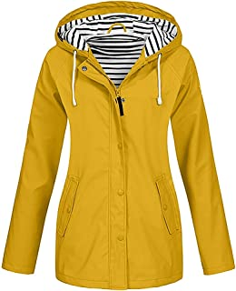 Women's Plus Size Solid Rain Jacket Outdoor Striped Lined Waterproof Hooded Raincoat Windproof Trench with Pocket