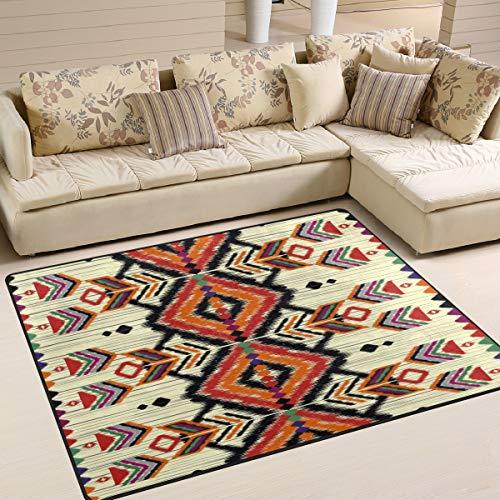 Use7 Tapis géométrique ethnique aztèque vintage pour salon ou chambre à coucher 203 x 147,3 cm