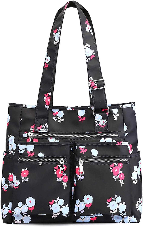 Nawoshow Women Canvas Tote Bag Waterproof Nylon Multi Pocket Shoulder Bags Work Bag Teacher Purse and Handbags
