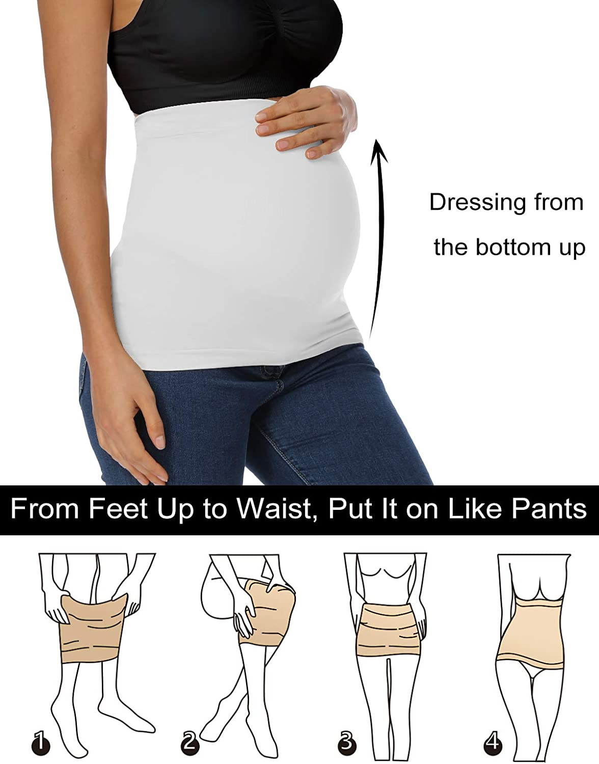 Seamless Belly Band with Pants Extenders for Pregnancy and Postpartum Maternity Shirts Clothing Extender