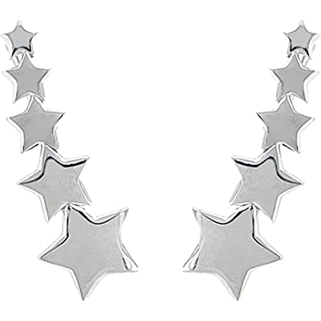 ENTREPLATA Pendientes Trepadores Ear Climber Plata de Ley 925 5 Estrellas.