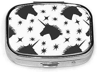 Black Star Seamless Mode Fashion Square Pill Box Vitamin Organizer Case