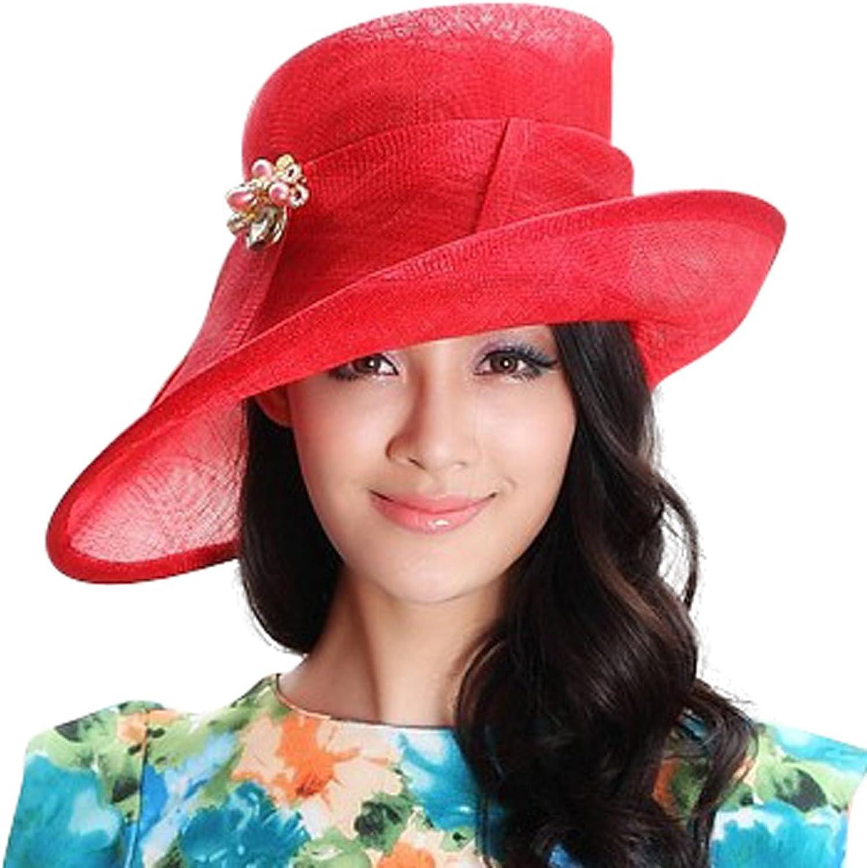 June's Young Women's Summer Hat Sinamay Fabric Wedding Dress Hat