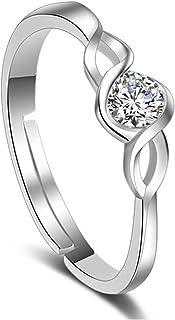 Karatcart Platinum Plated Elegant Classic Crystal Adjustable Ring for Women