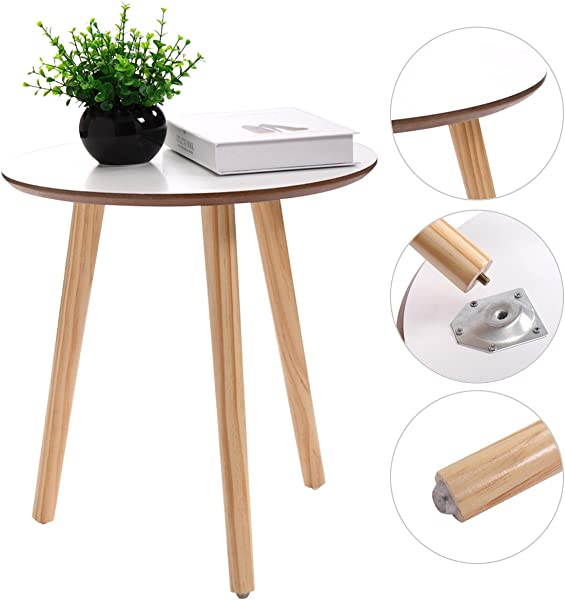 JAXPETY Three Legged Bamboo End Table Modern Round Coffee Table Environmentally Friendly Side Table For Magazines Books Plants