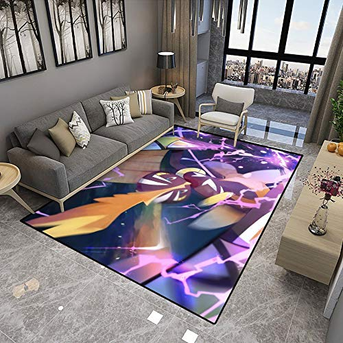 Poke-mon Large Area Rugs,Tapu Koko,Cute Anime Cartoon Graphic Carpet Living Room Bedroom Sofa Mat,Nonslip Doormat Kitchen Bathroom Bath Mats for Home Decoration,6.5x9.8ft