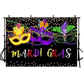 Mardi Gras 10x15 FT Backdrop Photographers,Festival Mask with Ornamental Feathers Colorful Dots Confetti Party Background for Baby Birthday Party Wedding Vinyl Studio Props Photography