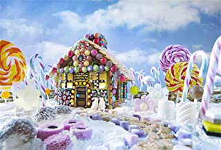 Leowefowa 7X5FT Christmas Backdrop Vinyl Photography Background Gingerbread House in Xmas Landscape Lopllipops Blue Sky White Cloud Candy Cane Happy New Year Kids 2.2(W) X1.5(H) M Photo Studio Props