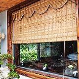 ZXXL Persiana Enrollables Bambú Cortinas Enrollables para Exteriores para la Ventana, Jardín/Patio/Porche/Pérgola Persianas Enrollables de Bambú, Parasol Impermeable con Protección UV con Cenefa Ondu