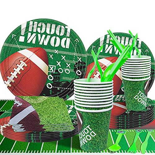 Gxhong Kit de Decoraciones de Cumpleaños Suministros de Fiesta Temáticos Decoración de la Fiesta de cumpleaños de Fútbol Platos Tazas Servilletas Platos de postre Cuchillo Tenedor Cucharas 161