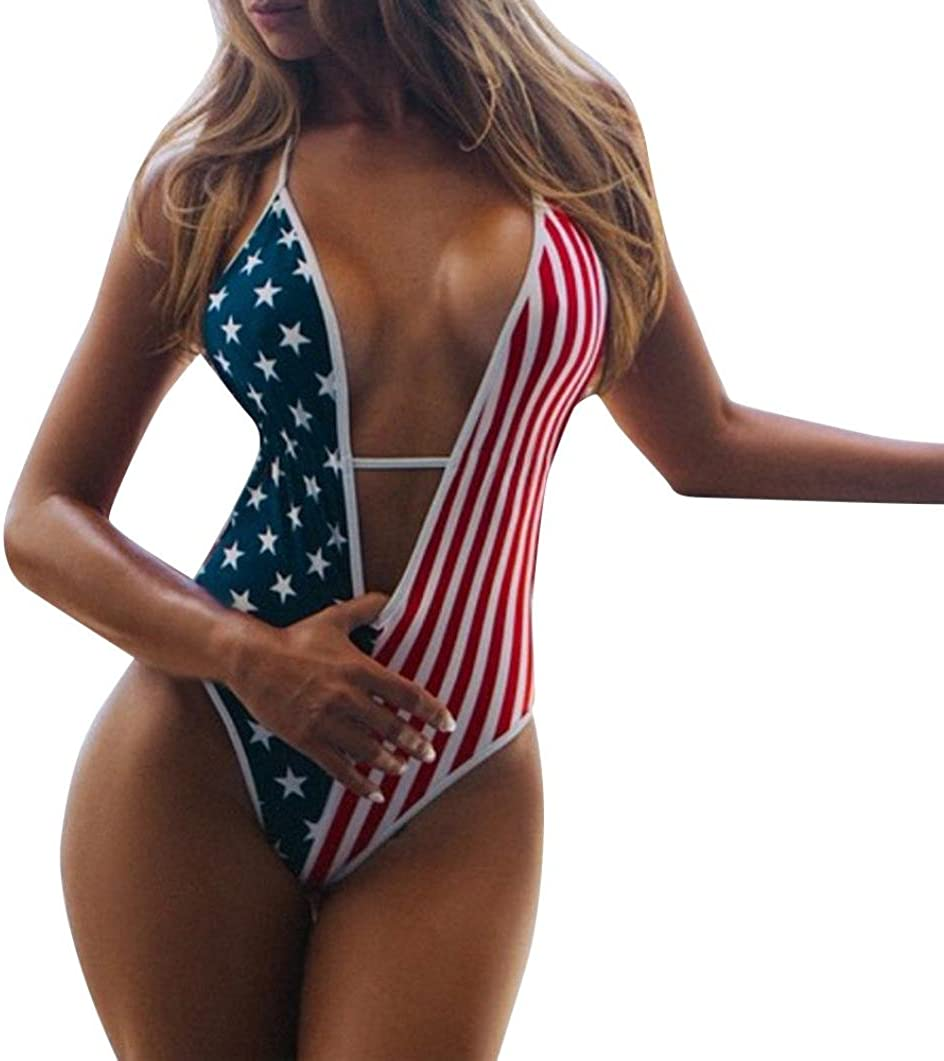 Coohole Women's Albuquerque Mall One Piece Sexy Mono Sale special price Flag American Beach Swimwear